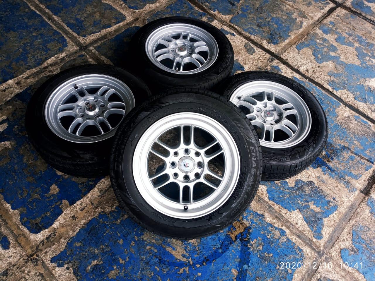 velg mobil bekas rpf ring 14 pcd 4×100/114 + ban dunlop 185-65