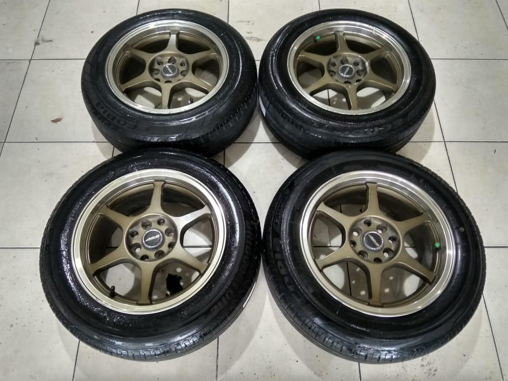 Velg Seken Club Linea R15x7 Pcd 8×100/114+Ban Bridgestone 185 65 15 Cocok Buat Avanza,Xenia,Mobilio